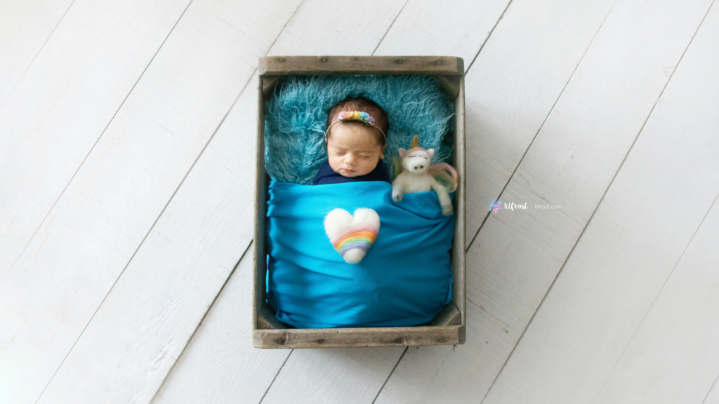 newborn baby in apple crate wrapped in blue fabric asleep with rainbow headband and unicorn animal beside her