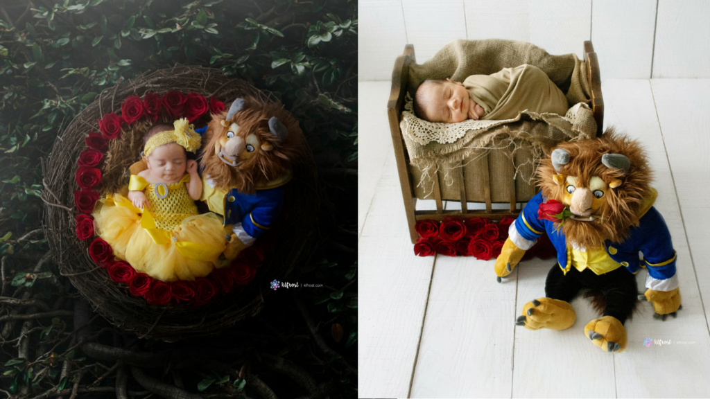 2 portraffed its of newborn baby girl in a beauty in the beast dress and stuffed animal