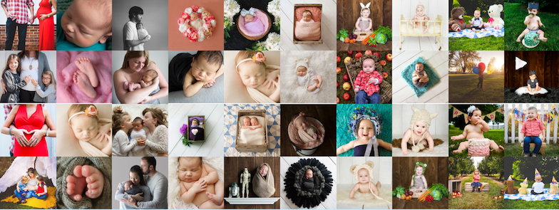 a collage of newborn and family images from klfrost photography