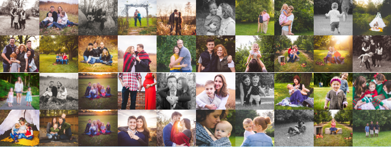 collage of families, couples and children being photographed outside