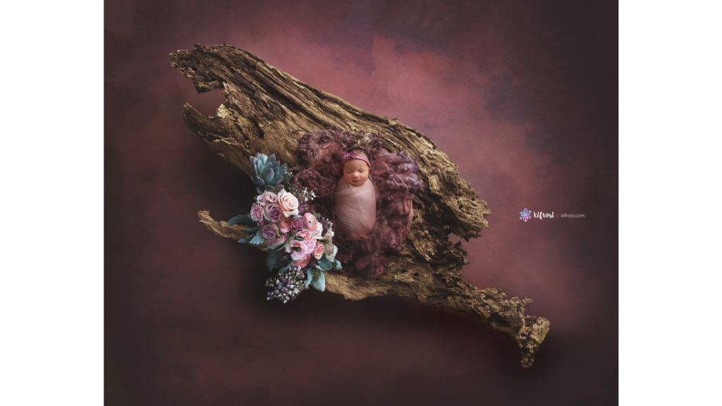 newborn girl on giant log with pink and purple fluff and flowers on a dark plum background