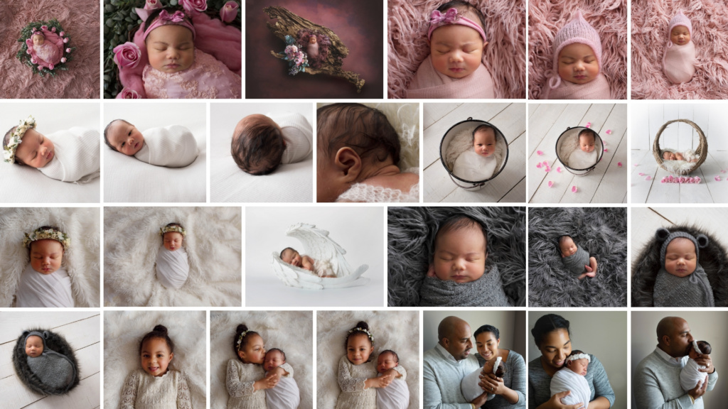 a collage of newborn girl images from a pink white and grey color scheme
