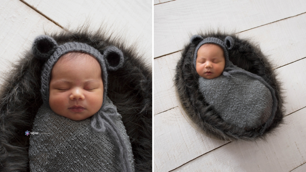 newbonr baby in grey fur wrapped in a grey stretchy wrap with grey teddy bear bonnet on