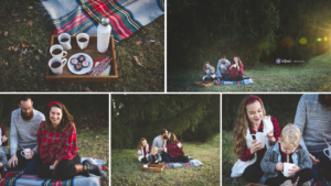 hot cocoa styled session outdoors with family of 4